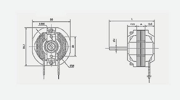 应用范围: J58系列罩极电机广泛用于暖风机、空气清新机、自动干手器、电暖器、加湿器和各种小型换气扇。 主要技术参数:  外形图:  备注: 电机的旋转方向、引出线的规格和长度、输出轴的长的多可以按客户要求设计制作。